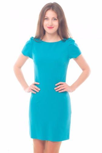 Платье голубое с рукавом-фонариком