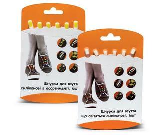 Шнурки для обуви силиконовые, 6 шт./уп.