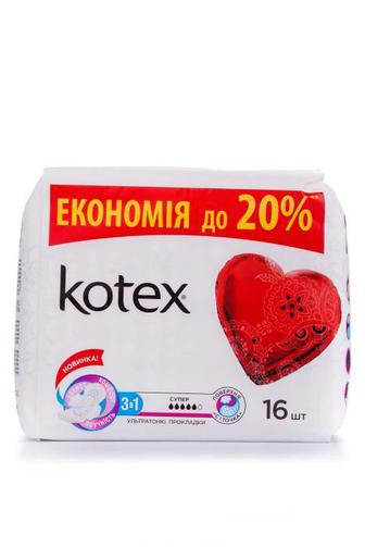 Прокладки критические KOTEX Супер Драй Дуо 16шт