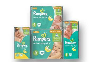 Підгузники Active Baby (2) New Baby Mini, 66 шт. Active Baby (3) Midi, 54 шт. Active Baby (4) Maxi, 46 шт. Active Baby (5) Junior, 36 шт Pampers