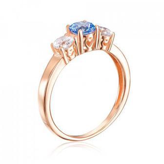 Скидка 51% ▷ Золотое кольцо с фианитом Swarovski. Артикул 12245/01/0/1393
