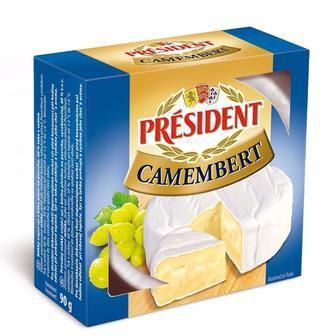 Сир Camembert або сир Camembert с зеленим перцем  President 90г