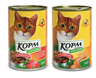 Корм для котів з яловичиною, куркою Повна Чаша, 415 г