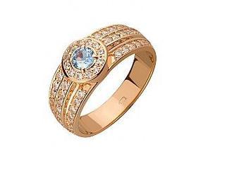 Золотое кольцо с голубым топазом и фианитами 15-000091976