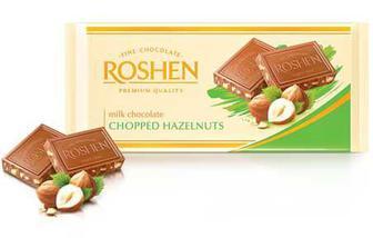 Шоколад молочний з лісовими горіхами Рошен 90г