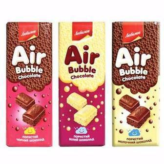 % економія Шоколад пористий молочний, чорний, білий Любимов 65 г