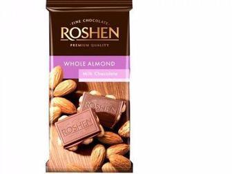 Шоколад молочний з цілим мигдалем, Рошен, 90г