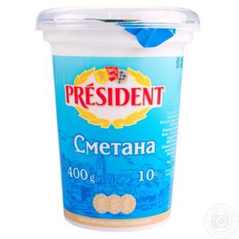 Сметана Президент 10% пластиковый стакан 400г