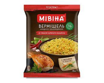 Вермішель «Мівіна» зі смаком курячого бульйону з овочами та зеленню, гостра, 60г