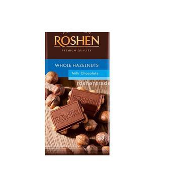 Шоколад молочний з цілим лісовим горіхом, Рошен, 90 г