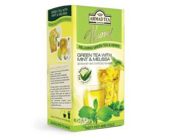 Чай зелений Ahmad tea London з м'ятою та мелісою, 20×1,8 г/уп