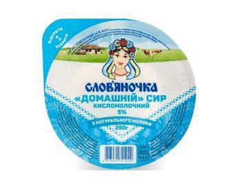 Скидка 14% ▷ Сир кисломолочний «Слов'яночка» «Домашній» 5% жиру, 280г