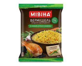 Вермішель «Мівіна» зі смаком курячого бульйону з овочами та зеленню, негостра, 60г