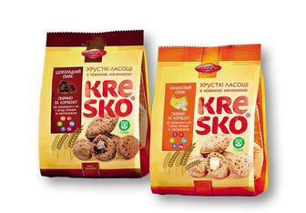 Хрусткі фігурки «Kresko» шоколадний/ банановий смак АВК 74 г