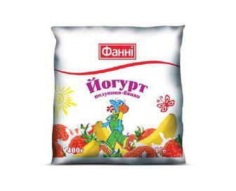 Йогурт «Фанні» 1% жиру полуниця-банан, 400 г