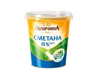 Сметана 15% жиру «Галичина» 350 г