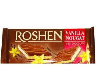 Шоколад молочний з ванільною нугою, Рошен, 90 г