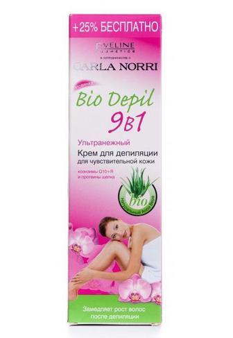 Крем для депиляции Eveline Cosmetics БИО ДЕПиЛ 9в1 для чувствительной кожи, 125мл