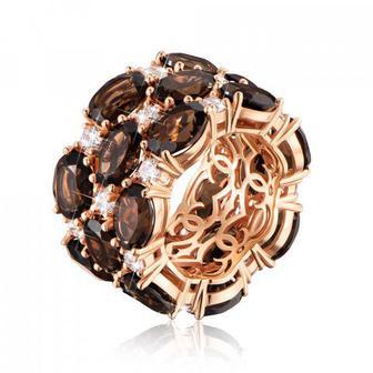 Золотое кольцо с раухтопазом и кристаллами Swarovski. Артикул 15935/01/0/5807