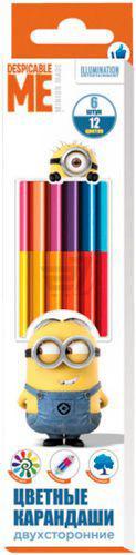 Олівці кольорові двосторонні Despicable Me © Universal Studios 6 шт. 12 кольорів Перо