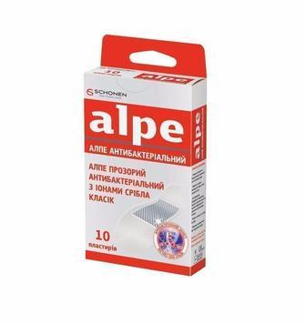 Лейкопластырь АЛПЕ прозрачный антибактериальный с ионами серебра классик (76*19 мм) №10