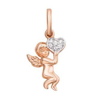 Золотая подвеска «Ангел» с фианитами. Артикул 31304/375