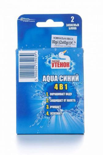 Чистящее средство для туалета Туалетный Утенок AQUA синий 4в1 сменный блок, 40г