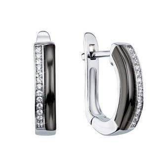 Скидка 10% ▷ Серебряные серьги с керамикой и фианитами. Артикул СК2ФК/1000