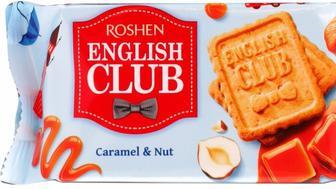 Печиво English Club з карамеллю та горіхами, Рошен, 112 г