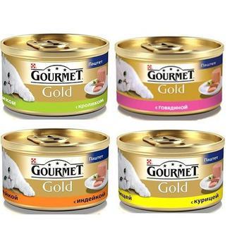 Консервированный корм для кошек с индейкой/курицей/кроликом Gourmet Gold 85г