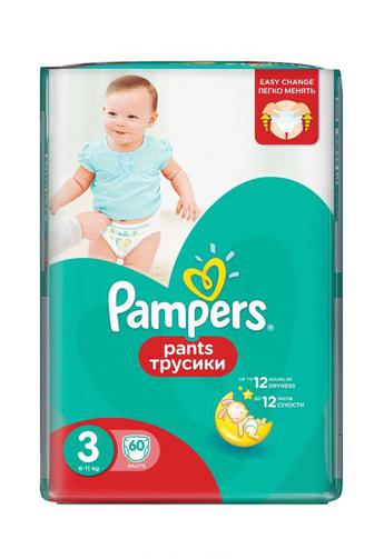 Скидка 25% ▷ Детские Подгузники-трусики PAMPERS Pants р3 6-11кг 60 шт