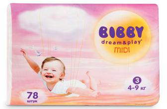 Підгузки Bibby Dream & Play Midi (4-9 кг) 78 шт./уп