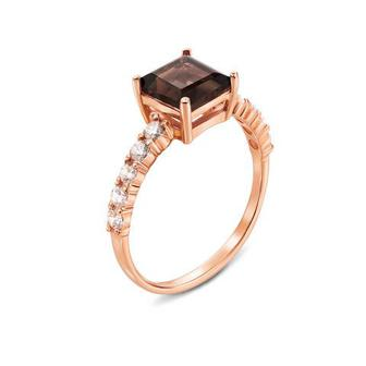 Золотое кольцо с раухтопазом и фианитами. Артикул 530089/раух с