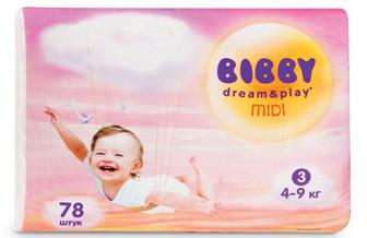Підгузки Bibby Dream & Play Midi (4–9 кг) 78 ш./уп
