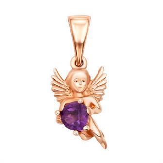Золотая подвеска Ангел с аметистом