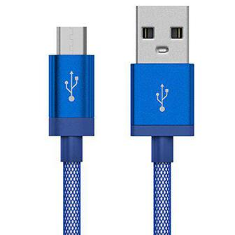 JUST WIRELESS microUSB 5- Mesh Cable Blue (BULK)