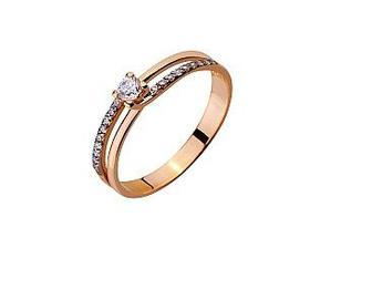 Золотое кольцо с фианитами Артикул 01-17420447