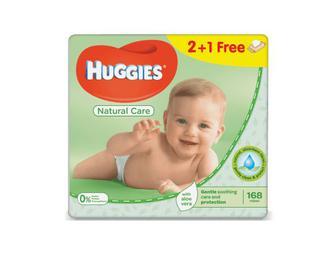 Серветки дитячі Huggies Natural Care 2+1 Free 168 (3х56) шт./уп