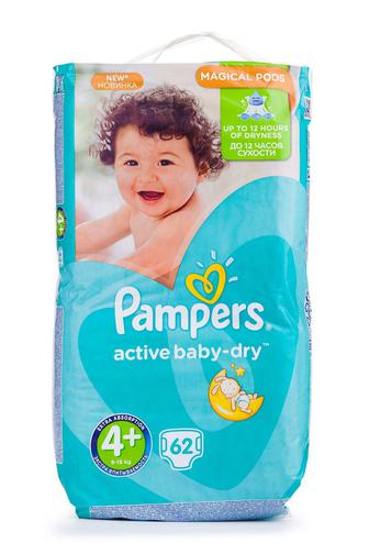Подгузники PAMPERS Active Baby р4+ 9-16кг 62 шт