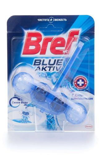 Чистящий блок для туалета Bref Блю Актив с хлор-компонетом, 50г