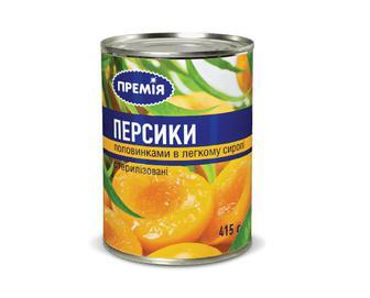 Персики половинками в легкому сиропі, Премія, 415 г
