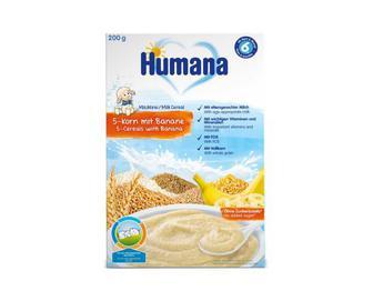 Каша Humana, молочна, 5 злаків, з бананом, 200 г