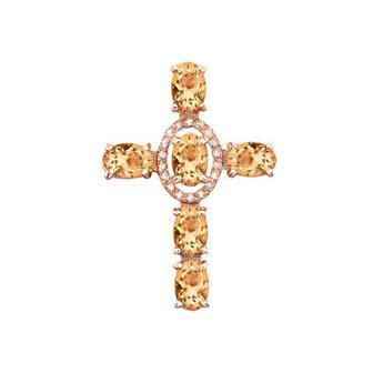 Золотой крестик с цитрином и фианитами. Артикул 550016/ц
