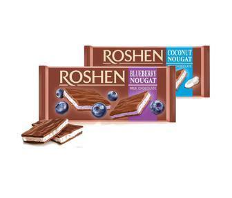 Шоколад молочний з чорничною нугою, Рошен, 90 г