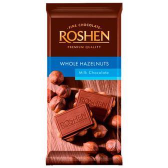 Скидка 16% ▷ Шоколад Roshen молочний з цілими лісовими горіхами 90г