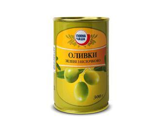 Оливки зелені з кісточкою, Повна Чаша, 300 г