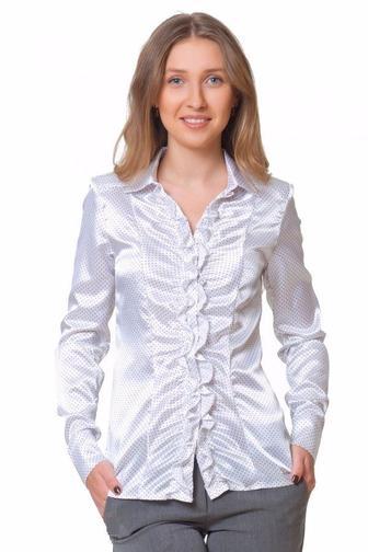 Блузка в белый горошек со сборкой