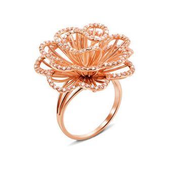 Золотое кольцо с фианитами. Артикул 13041 сп
