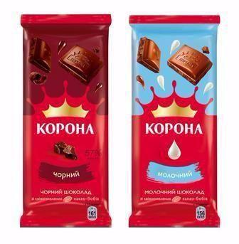 Шоколад Корона білий/чорний/молочний 90г