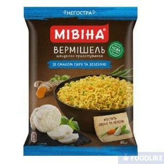 Вермішель Мівіна зі смаком Сиру та зеленню негостра 60гр